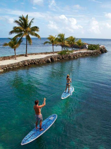 Healthy getaways that celebrities love: Standup paddle-boarding (SUP) at Goldeneye, Jamaica <3 <3 <3