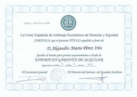 2008 Diploma Reconocimiento Formación de Garantias de Alquiler y Arrendamientos Garantizados Certificado Titulacion AlejandroPI Administracion Viviendas Alejandro Perez Irus