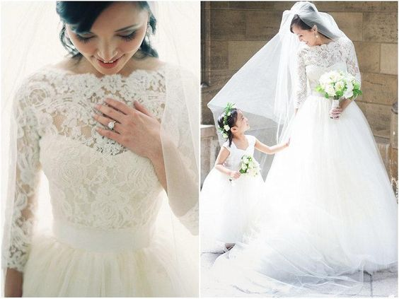 Elegant 2015 Lace Bridal Dresses Simple Fashion Tulle Bateau Neck 3/4 Long Sleeves A Line Sweep Train Zipper Formal Wedding Dress Gowns New Formal Dresses Wedding Dress From Weddingdressesonline, $148.45  Dhgate.Com