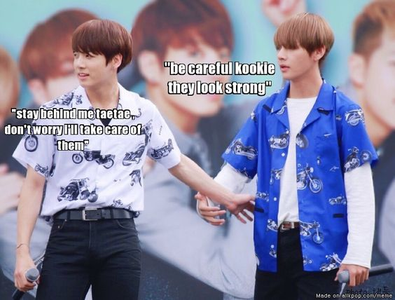 Why do i see this as kookie protecting taetae from a gang XD!!