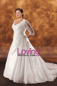 Wedding Dresses A Line V Neck Court Train Taffeta With Ruffles USD 269.99 LDPRNTPHYE - LovingDresses.com