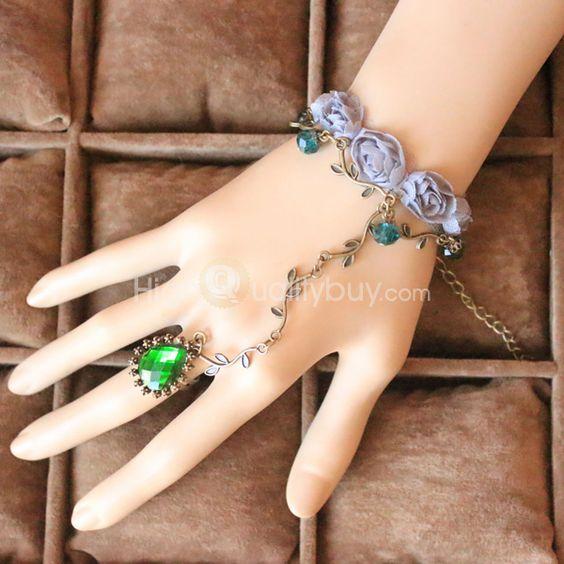 Green Gem Lace Rose Flower Rattan Finger Ring Bracelet Set