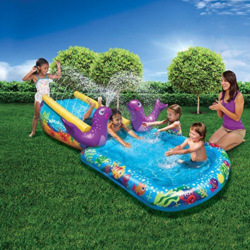 Banzai Kid Toddler Outdoor Inflatable My First Water Slid Https Www Amazon Com Dp B07b9ftwy4 Ref Cm Sw R Splash Pool Inflatable Water Park Toddler Outdoor