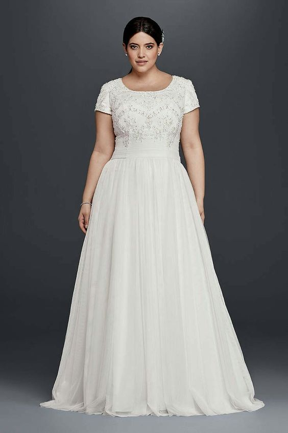 Perfect David us Bridal Collection MODEST SHORT SLEEVE PLUS SIZE A LINE WEDDING DRESS SLWG