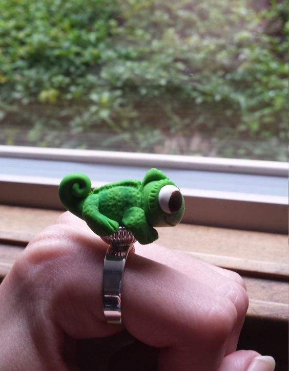 Pascal Tangled chameleon, jewelry by PintsizedPolymerShop on Etsy