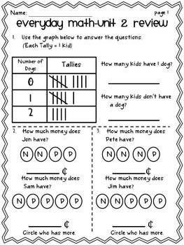 Printables Everyday Math Worksheets math and first grade on pinterest everyday unit test reviews teacherspayteachers com