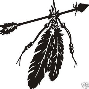 PAIR OF EAGLE FEATHERS & ARROW INDIAN DECAL sticker for ...