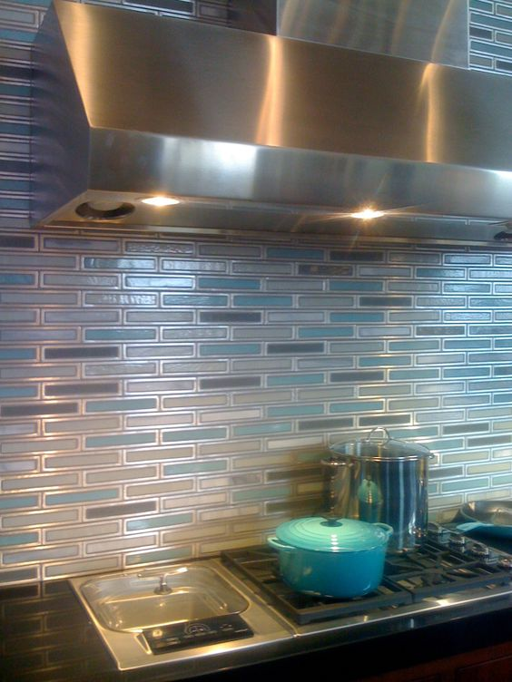 House FiftyTwo, Erin Adams Flux Tiles made of recycled aluminum and colored glass. #tile #glass #backsplash