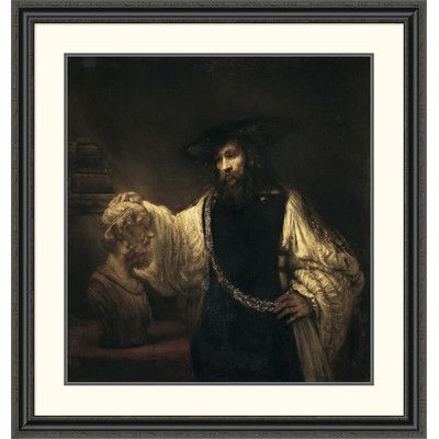 "Global Gallery 'Aristotle with a Bust of Homer' by Rembrandt Van Rijn Framed Painting Print Size: 40"" H x 37.96"" W x 1.5"" D"
