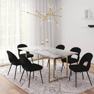 Edith Rectangular Faux Marble Dining Table White Gold Cosmoliving By Cosmopolitan Faux Marble Dining Table Dining Table Marble Marble Dining
