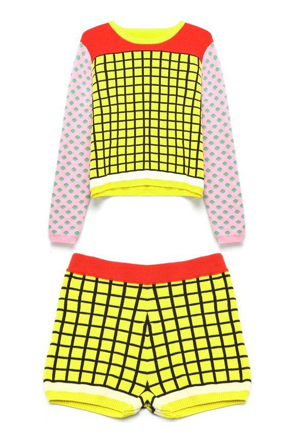 Color Block Check Detail Suit OASAP.com