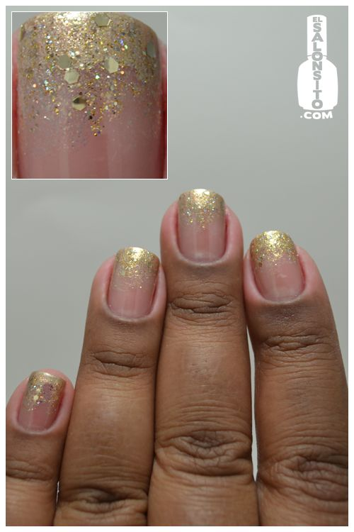 El Salonsito - Gold french tip glitter fade      OPI Wild About Shimmer    OPI Only Gold For Me    Hurricane Nail Art Stripper    Soo Nails #s37 Glamour Woman    Soo Nails #123 Soo Colour