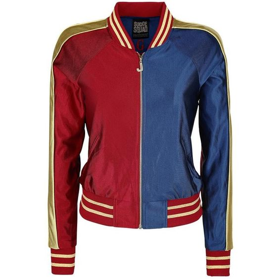 Suicide Squad Varsity Jacket ($78) ❤ liked on Polyvore featuring outerwear, jackets, college jacket, teddy jacket, varsity style jacket, bomber jacket and red varsity jacket