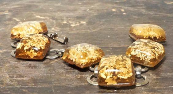 Resin Jewelry Vintage Link Bracelet Dried by LittleRiverVintage