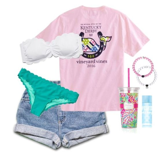 """""""Day 4-pool day"""" by highheel-hannah ❤ liked on Polyvore featuring Abercrombie & Fitch, Lilly Pulitzer and Victoria's Secret PINK"""