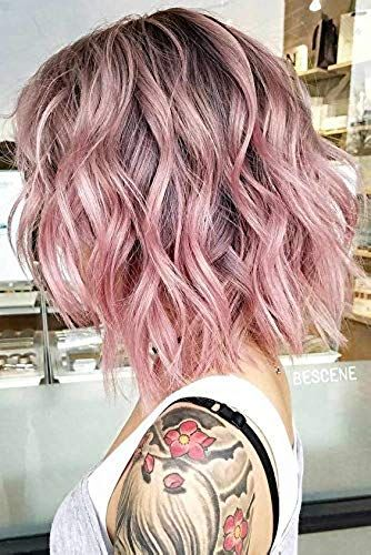 Beautiful Beibingyang Hot Pink Lace Front Wig Ombre Dark Brown Roots 4 To Mixed Color Pale Pink Short Natural Wa Pink Hair Dye Pastel Pink Hair Dye Hair Styles