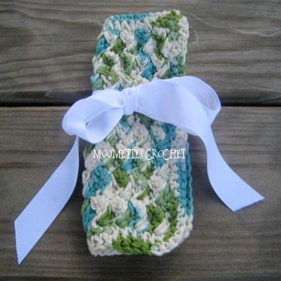 Cotton Spa Wash Cloth, Eco Friendly Washcloth Rustic Farmhouse Chic, Emerald Green by Moomettes Crochet #spa #bath #rustic #green #handmade #crochet