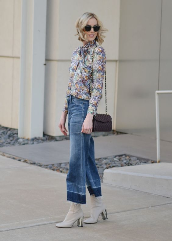 denim culottes, floral blouse, cream ankle boots, Rebecca Minkoff bag