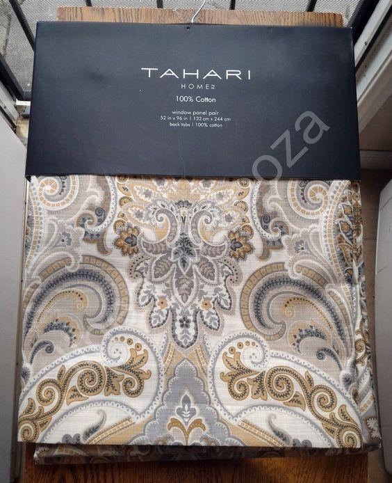 NEW Tahari Gray Blue Tan Medallion Damask Window Curtain Panels ...