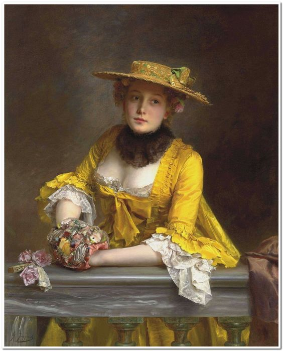 The Yellow Dress. Gustave Jacquet (French, 1846-1909). Oil on canvas. A pupil of the William-Adolphe Bouguereau and a Salon exhibitor from 1865, Jacquet was renowned for his portraits and genre paintings of figures in 16th, 17th and 18th Century costume. His work was often on a small scale and meticulously detailed, paying particular attention to the rich rendering of fabrics and textures.