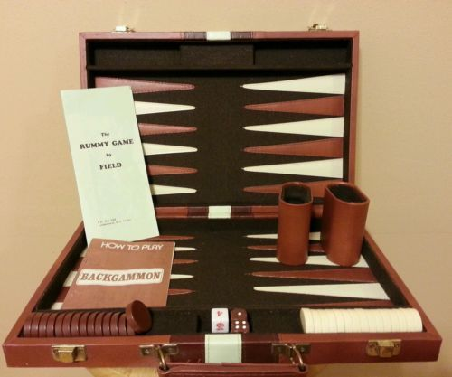 Vintage Backgammon Set in Leather Case Briefcase Travel