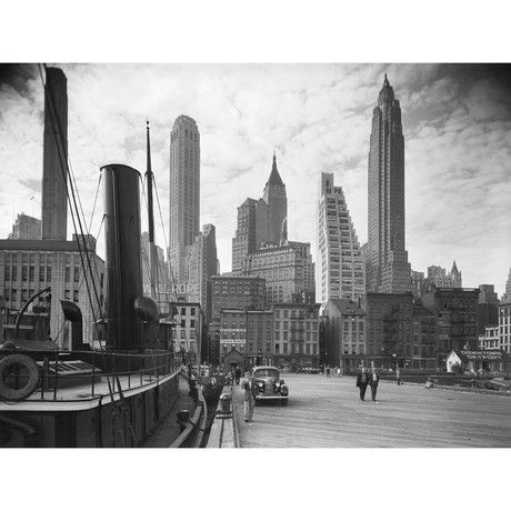 "New York Skyline with Tugboat, 1937 (18""L x 24""W)"