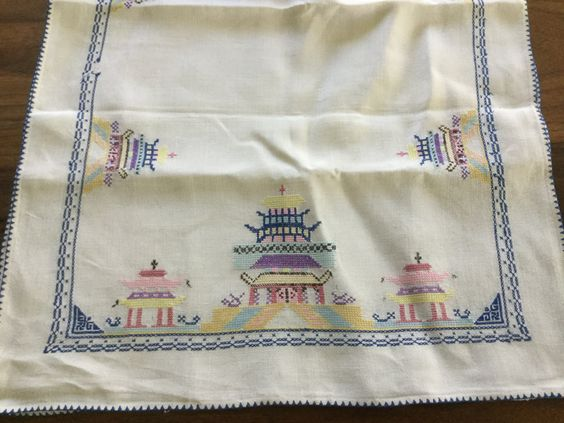 Vintage Ivory Linen Pastel Asian Inspired Table Runner Dresser Cloth By Hannahandhersisters On Etsy