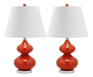 Set de 2 lámparas de sobremesa Gabriel, naranja - altura 60,9 cm