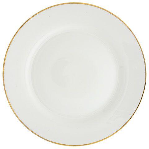 Bulk Gold Rimmed White Stoneware Dinner Plates 10 5 In At