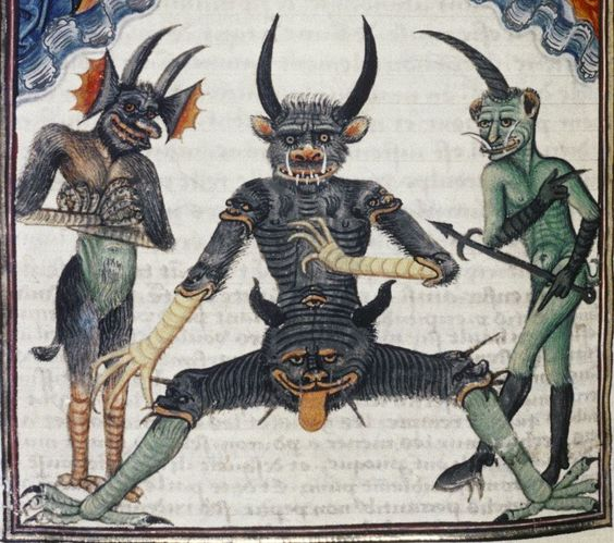 devils waiting for the Last Judgement     Livre de la Vigne nostre Seigneur, France ca. 1450-1470 (Bodleian Library, MS. Douce 134, fol. 67v )