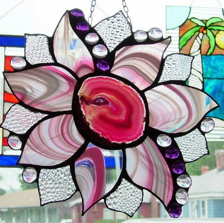 Agate flower w/ pink swirls stained glass. No two are alike.: