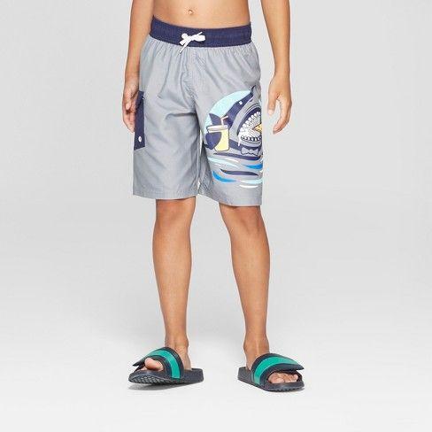 Pizza Pantz Shark Grey Drawstring Short Swimsuit