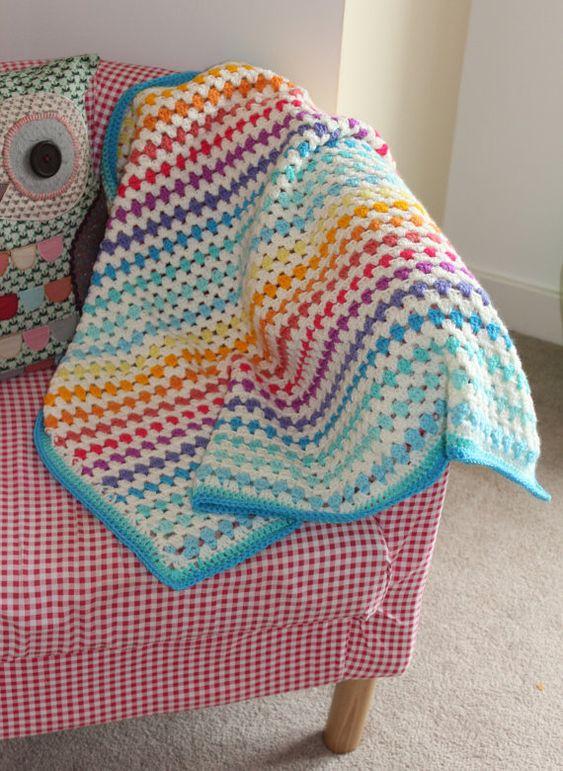 Crochet Pattern For Granny Stripe Baby Blanket : Pretty handmade crochet RAINBOW granny stripe blanket baby ...
