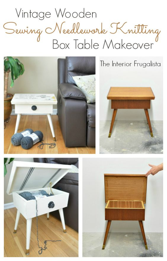Vintage Wooden Sewing Needlework Knitting Box Table Before and After | The Interior Frugalista