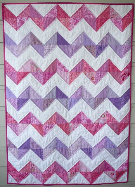 Patchy Work of Mini Grey: Pink and Purple Zig Zags.: