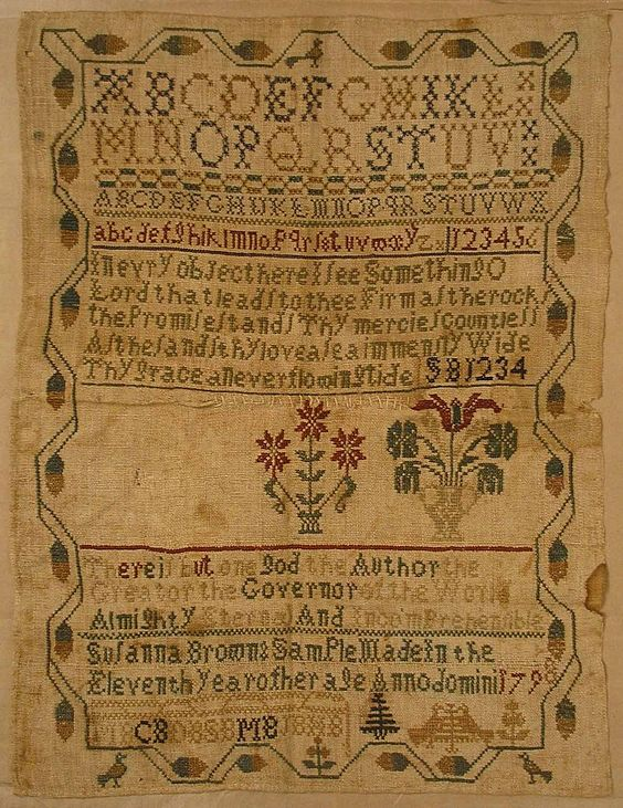 Early American Antique Quaker Schoolgirl Needlework Sampler - 1798, USA (from rubylane.com):