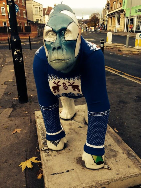 Guerrilla Gorilla! shared by podknit -- thank you! #yarnbomb #bristol #knithacker