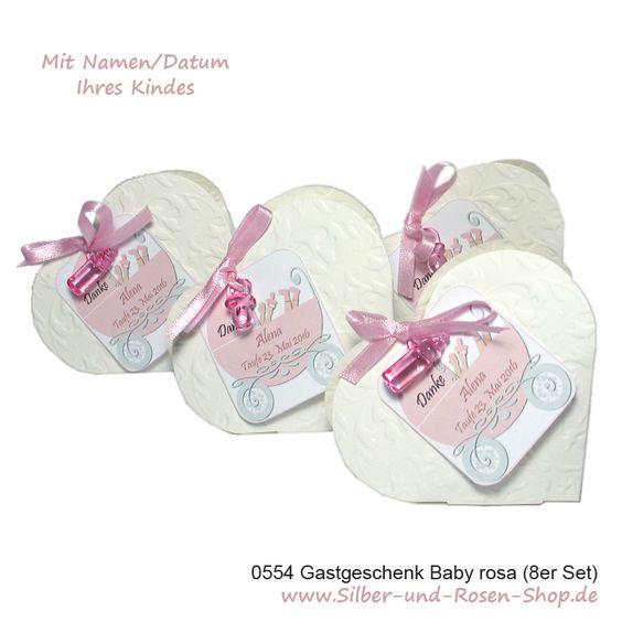 Gastgeschenke Bomboniere Herz rosa dekoriert + Druck 8er Set