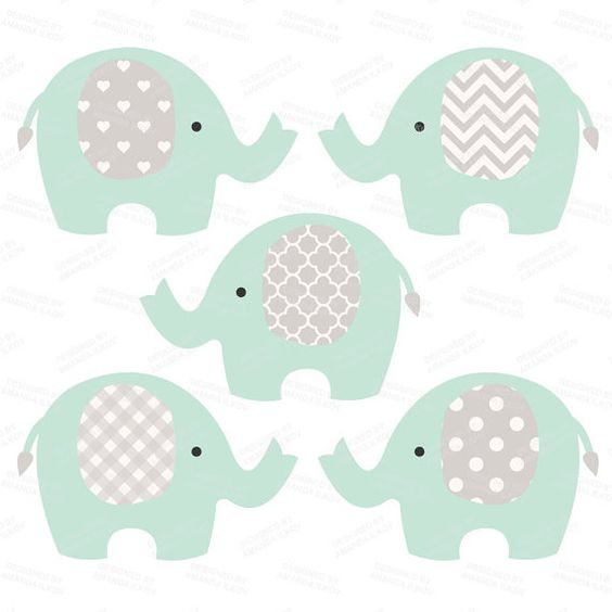Product Info. This printable clip art set contains 9 mint green and grey elephants. They're great for creating baby shower decor and nursery art!
