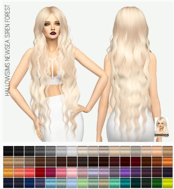 Miss Paraply: Newsea Siren Forest Hair: solids • Sims 4 Downloads
