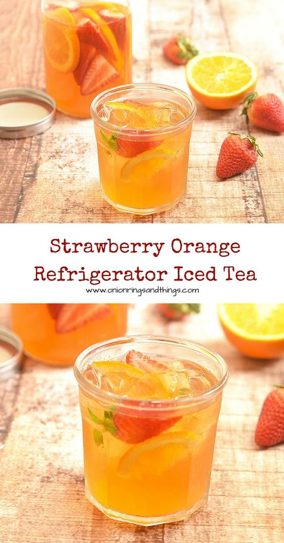 Strawberry orange refrigerator iced tea recipe iced for Easy fruit tea recipe