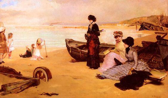 Vicente Palmaroli y Gonzalez (1834-1896)-'a summer's afternoon at the beach'