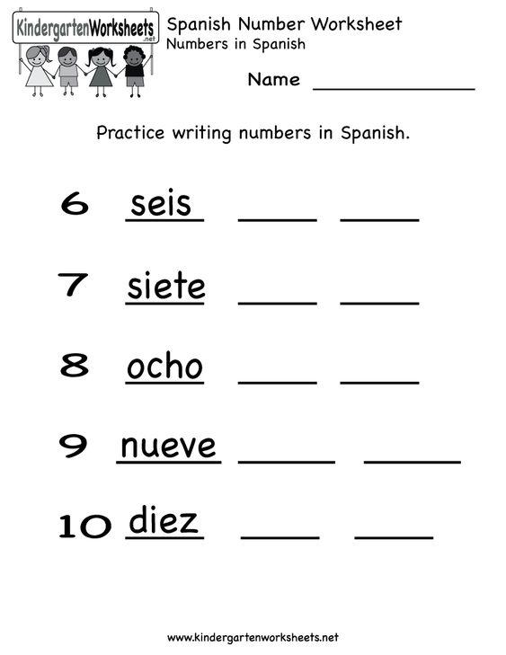 Number Names Worksheets number practice for kindergarten : Spanish, Number worksheets and Printable checks on Pinterest