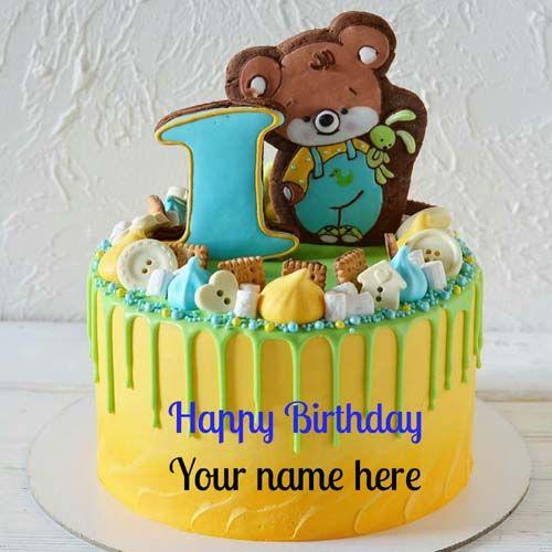 Happy 1st Birthday Wishes Name Cake For Kids Happy Birthday