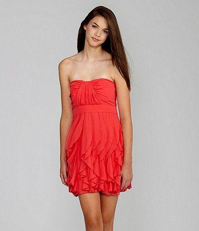 B. Darlin  Strapless Hankerchief Dress  $79.00  Available at Dillards.com #Dillards