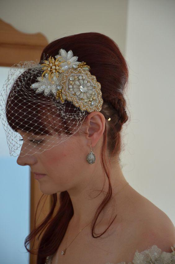 #Beautiful #vintage style #headdress with #birdcage veil