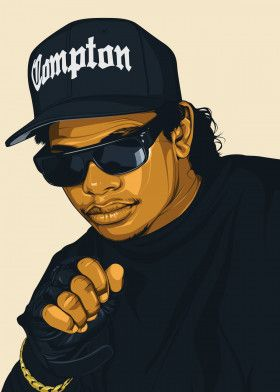 Eazy E Metal Poster Print Art By Bikonatics Displate Hip Hop Artwork Rapper Art Hip Hop Art