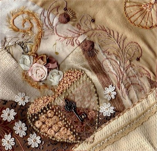 embroidery crazy quilt | - Embroidery, Crazy Quilt, Ribbon Work etc. / I crazy quilting ...: