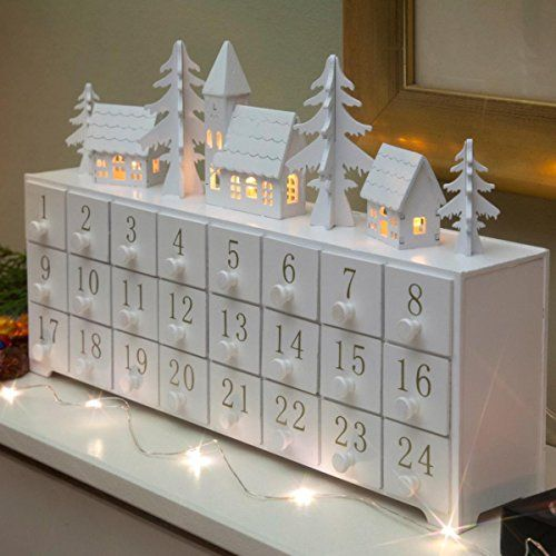 Wooden Village Scene Advent Calendar (Warm White)