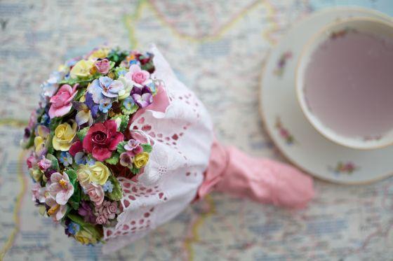 My DIY china flower brooch wedding bouquet